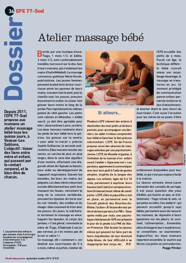 epe77sud - atelier massage bébé